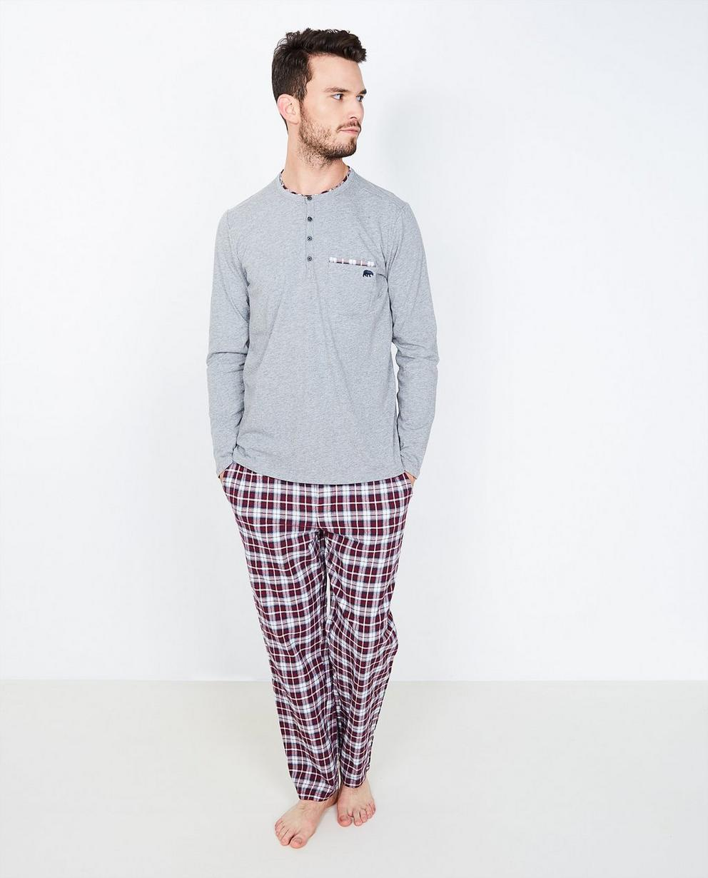 Pyjama gris avec un  - pantalon à carreaux - Tim Moore